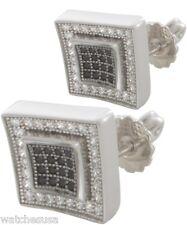 Cz Stone Square Stud Men's Earrings Sterling Silver Rhodium Finish White & Black