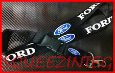 Ford Lanyard BLACK Mustang Focus Taurus Fusion F150 Fiesta Shelby Keychain Ring