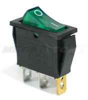 (1PC) SPST On/Off 3 Pin Rocker Switch w/ GREEN Neon Lamp. 20A/125VAC. USA SELLER