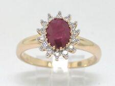 Rubin Ring 585 Gelbgold 14Kt Gold natürlicher Rubin und Diamanten