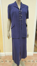 Jacques Vert Navy Silky Feel Sleeveless Dress / Short Sleeved Jacket Suit sz 12