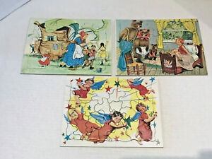 Set of 3 Vintage Nursery Rhyme Crayon Board Tray Puzzles Japan