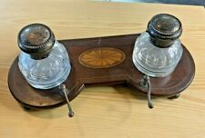 Antique Inlaid Pen Stand with Double Glass Inkwells with Sterling Tops