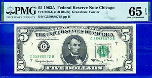 1963-A $5 FRN (( 5th FINEST - GB Block )) PMG 65EPQ # G35988872B-