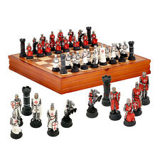Hand Painted KNIGHTS TEMPLAR CHESS SET by Vertini / Italy + wooden board New
