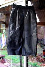 "Black Leather Skirt Mid-Calf Size 10  Waist 63 cm/25""/ Hips 81 cm / Length 79 cm"