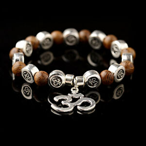 Women Men Natural Wood OM Pendant Buddha Yoga Bracelet Chakra Mala Beads Jewelry