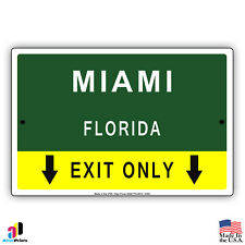 Miami, Florida Highway Exit Novelty State City Aluminum Metal Sign