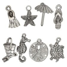 8 Antiqued Silver Plated Pewter Charm Set / Sand & Sea Mix