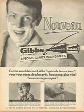 """Publicité 1966  Gibbs crème à raser au G11 """"sans blaireau"""" spécial lames inox"""