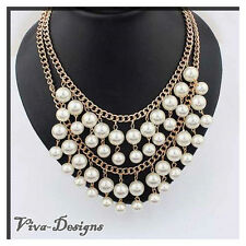 Multilayer Simulated-Pearl Tassel Necklace