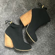 Chloe Neoprene Bungee Ankle Boots with Wooden Stacked Heel 41