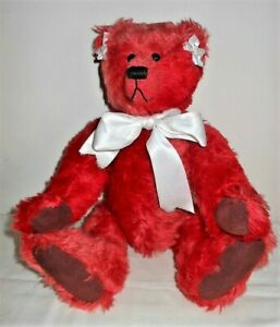 "Reuben 16"" Red Mohair? Bear, Hump on Back, Tush Tag, White Ribbon Flowers & Bow"