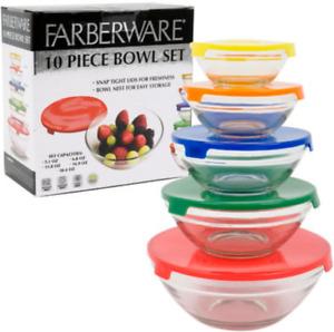 Farberware 10-Pc Glass Bowl Set W/Plastic Lids Microwave Freezer Dishwasher Safe