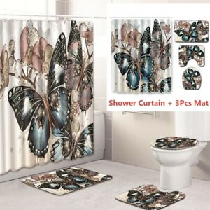 Butterfly Bathroom Rug Set Shower Curtain Bath Mat Non Slip Toilet Lid Cover
