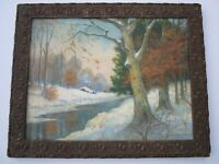 ANTIQUE FRAME 1940'S  PAINTING AMERICAN IMPRESSIONISM LANDSCAPE WINTER MCEACHRAN