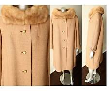 Mink Boucle Wool Blonde Taupe Trapeze Vintage 60s Fur Collar Taupe Brown Coat M