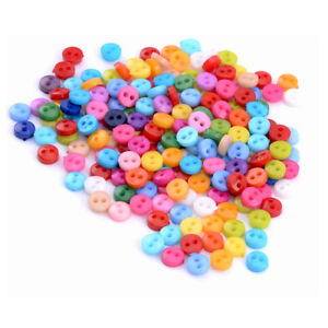 200x Mixed Mini Colors Round Acrylic Buttons Lots 2 Holes Sewing Accessories 6mm