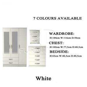 3 Door Wardrobe Bedroom Set - White