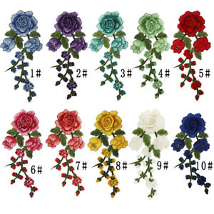 1Pcs DIY Embroidery Flower Sew On Patch Badge Bag Fabric Clothes Applique Crafts
