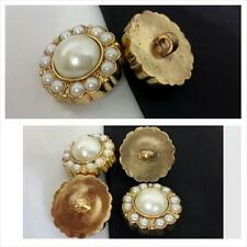1 dozen gold small and large faux pearl self shank button 25 mm US SHIPPER