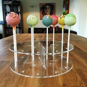 Cake Pop Stand Round - Clear, Sizes - Standard 16 Hole or Large 32 hole
