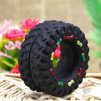 Pet Hard Wearing Rubber Tyre Treads Tough Toy Puppy Dog-Cat-Chew-Squeaky neu