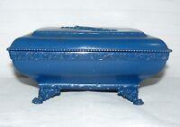 Quadruple Silver Plate Blue Box Vintage Footed Storage Jewelry Trinket