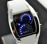 ASAMO Herren Damen LED Digital Armbanduhr mit Silikon Armband Uhr Weiss