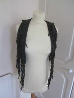 VGC RIVER ISLAND BLACK REAL LEATHER TASSLE CROPPED WAISTCOAT SIZE 6