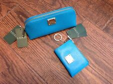 NEW Lauren Sloan Street Blue Leather Small Triangle Makeup Bag & Key Coin Purse