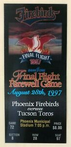 Phoenix Firebirds 1997 Final Flight Ticket - Last Game - 8/28/1997