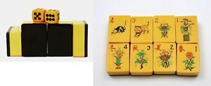 Bakelite 2 Tone Black Wafer Mahjong Mah Jong Jongg Wood Box 148 Tile Cat Mouse