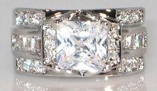Bridal Engagement Wedding Ring Size 7 Intricate 4 Ct Princess Cut Cubic Zirconia