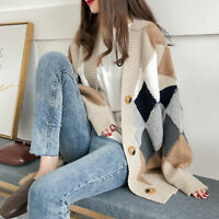 KQ_ Autumn Winter Women Knitted Cardigan Long Sleeve Buttons Rhombus Thick Coat