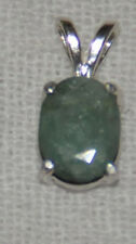 BEAUTIFUL 10mm X 8mm OVAL NATURAL EMERALD PENDANT IN STERLING SILVER  2.20 CTS.