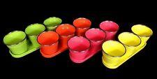 4 X Set of 4 Garden Planter Metal Bucket Tin Pot With Tray 4 Colors