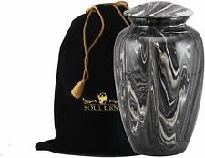 Funeral Urn by SOULURNS® - Cobalt Marble Cremation Urn for Human Ashes