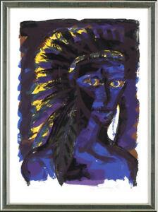 Rainer Fetting (* 1949), Indianer (blau), 1992 - signiert, gerahmt