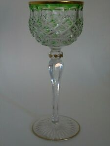 ANTIQUE WINE GLASS CRYSTAL ST LOUIS FRANCE GREEN AND GOLD