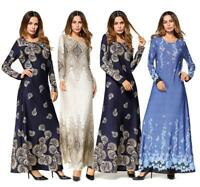 Women Muslim Long Sleeve Maxi Dress Islamic Abaya Cocktail Party Kaftan Robe New