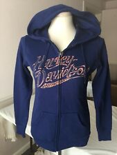 Harley-Davidson Women's Blue Sweatshirt w/ Pink Size Medium New zip hoodie