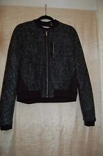 NWT T. Tahari Flynn Black/White Polyester/Wool Blend Zipper Jacket Size L $ 158