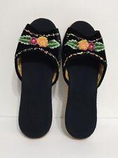 Women Black Velvet Beads Open Toe Alfombra Bedroom/indoor Slipper Size 9