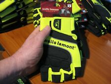 Wells Lamont Grips Half Finger Hand Tool Equipment Driving Gloves A841YL Size L