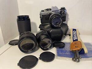 Amazing Olympus OM-10 35mm Camera Bundle Including 3 Lens, Very Clean Setup LOOK