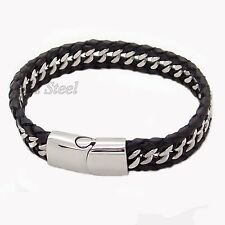 MEN's Trendy Genuine Black Braided Leather Stainless Steel Curb Chain Bracelet