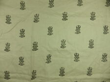 Zoffany End Paper Natural Black Monogram Crown 100% Linen Fabric Remnant Off cut