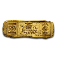 1 oz Hand-Poured Gold Relic Bar - Viking Longship - SKU#188279