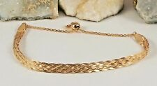 14K Rose Gold Over Italian Sterling Silver Braided Bracelet Adjustable 3.8 gram